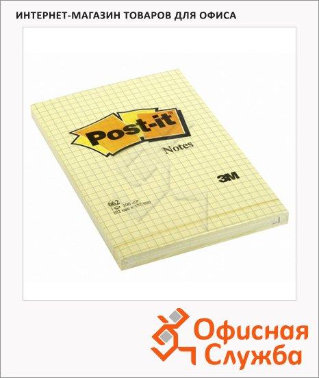 фото: Блок для записей с клейким краем Post-It Classic канареечный желтый пастельный, 100 листов, 152x102мм, в клетку, 662