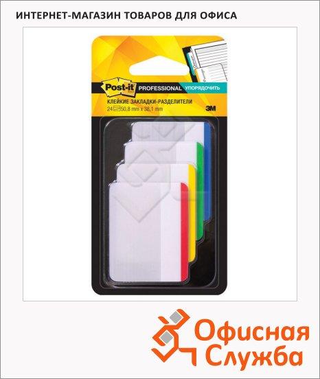 Клейкие закладки пластиковые Post-It Professional 4 цвета, 50х38мм, 4х6 листов, в диспенсере, 686-F1-RU