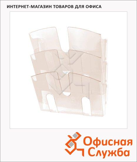 фото: Лоток навесной для бумаг Uniplast 3 отделения А4, 290x215x32мм, дымчатая