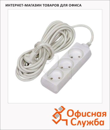 Удлинитель электрический Старт 3 розетки, 10м, белый