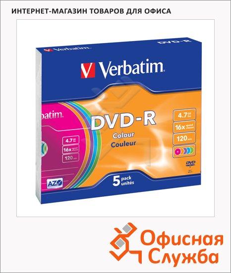 фото: Диск DVD-R Verbatim 4.7Gb 16х, Slim Case, 5шт/уп