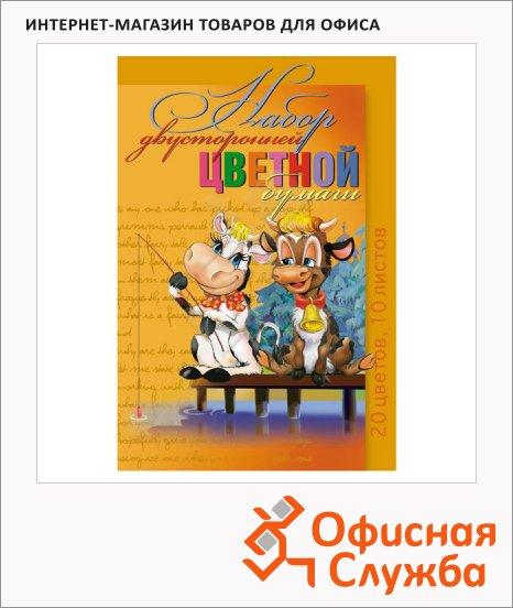 Цветной картон Мультики 20 цветов, А4, 10 листов, двухсторонний