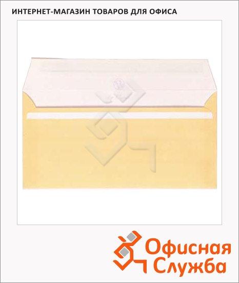 фото: Конверт почтовый Packpost E65 бежевый 110х220мм, 90г/м2, стрип, 25шт