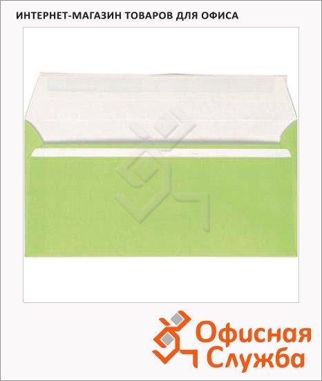 фото: Конверт почтовый Packpost E65 зеленый 110х220мм, 90г/м2, стрип, 50шт