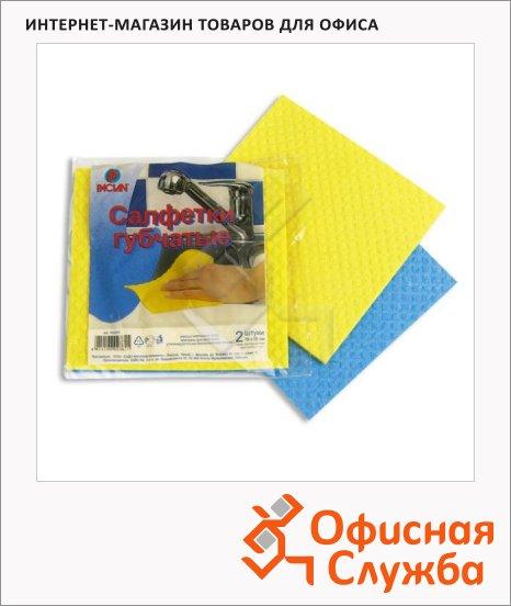 Салфетка хозяйственная Paclan 18х18см, губчатая ткань, 2шт/уп, ассорти