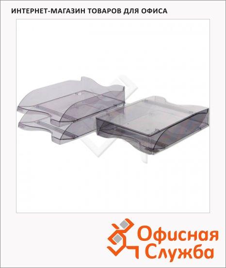 фото: Лоток горизонтальный для бумаг Люкс ЛТ602 2 шт/уп, серый, тонированный