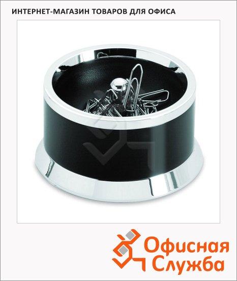 Скрепочница магнитная Lerche Croma 47х80мм, чер/серебро, 36025