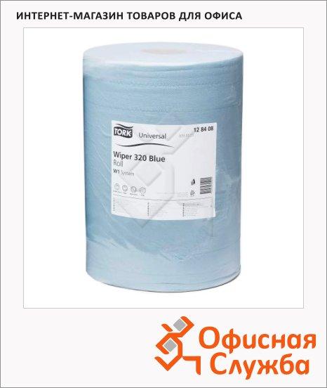 Протирочная бумага Tork базовая W1, 128408, в рулоне, 340м, 2 слоя, голубая