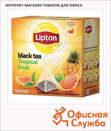Чай Lipton Tropical Fruit, черный, в пирамидках, 20 пакетиков