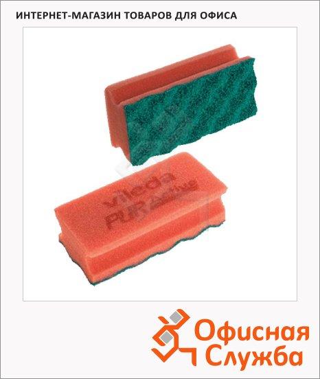 Губка Vileda Pro ПурАктив 6,3х14см, зеленый абразив, красная, 123116