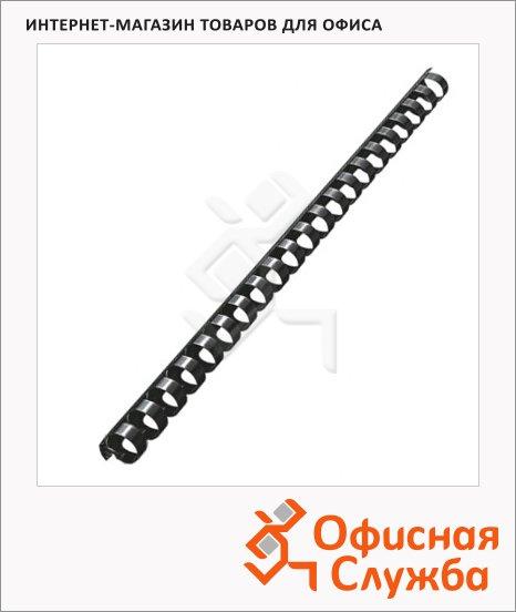 фото: Пружины для переплета пластиковые Office Kit черные на 90-110 листов, 14мм, 100шт, кольцо, BP2040