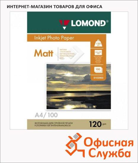 Фотобумага для струйных принтеров Lomond А4, матовая, 100 листов, 120 г/м2, 102003