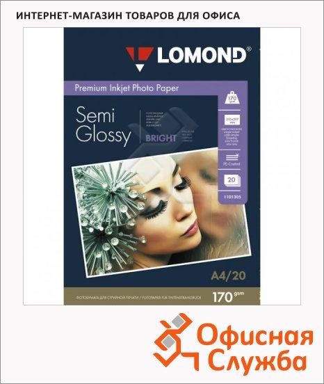 Фотобумага для струйных принтеров Lomond А4, 20 листов, 170 г/м2, полуглянцевая