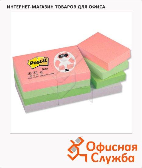 Блок для записей с клейким краем Post-It Classic 4 цвета, пастельный, 38x51мм, 12х100 листов, 653-1RP/RP-A
