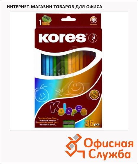 Набор цветных карандашей Kores 36 цветов, с точилкой, 96336.01