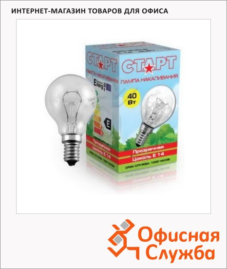 Лампа накаливания Старт 40Вт, E14, стандартная