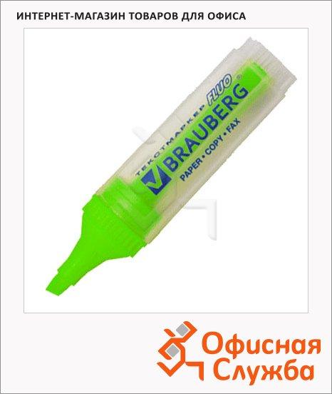 фото: Текстовыделитель Brauberg Fluo зеленый 1-5мм, скошенный наконечник, 150399