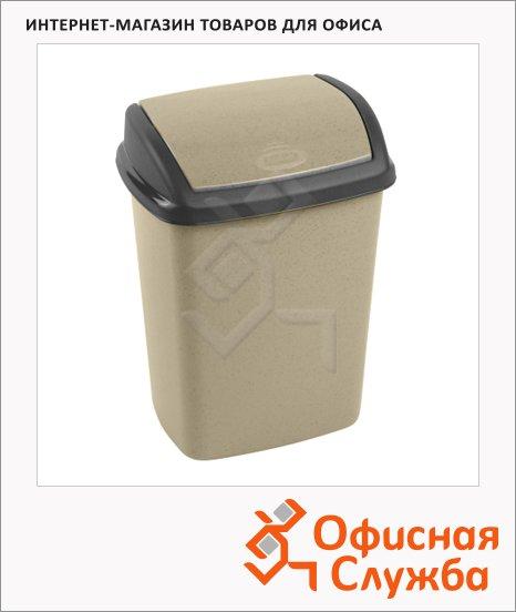 фото: Контейнер для мусора Curver Dominik 10л бежевый, с качающейся крышкой, 176504
