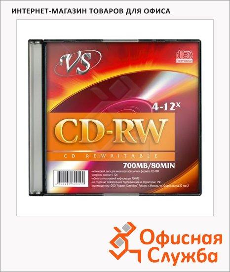 фото: Диск CD-RW Vs 700Mb 4-12x, Slim Case, 5шт/уп