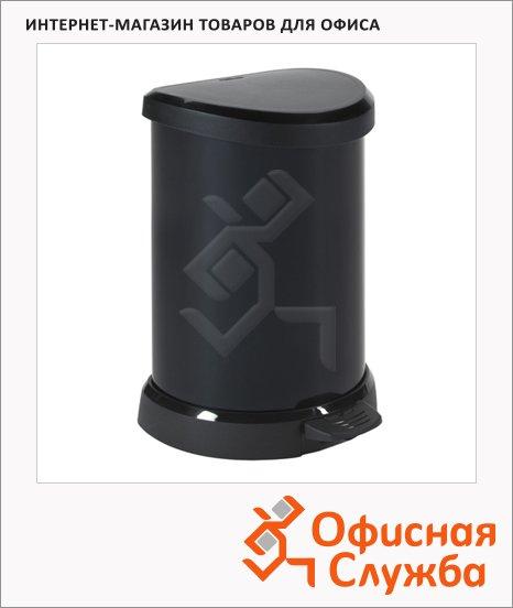 Контейнер для мусора с педалью Rubbermaid Deco Bin черный металик, 20л