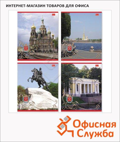 Тетрадь общая Attache Санкт-Петербург, А5, в клетку, на скрепке, мелованный картон, 48 листов