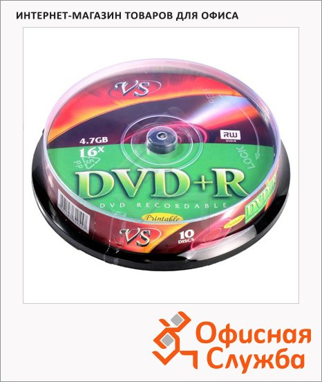 Диск DVD+R Vs 4.7Gb, 16х, Cake Box, 10шт/уп