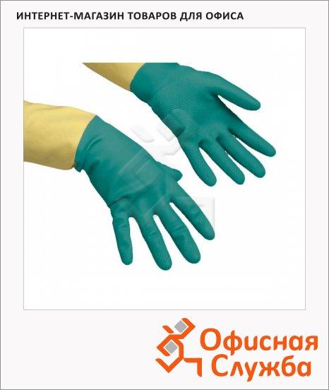 Перчатки резиновые Vileda Pro усиленные L, зеленые/желтые, 120269