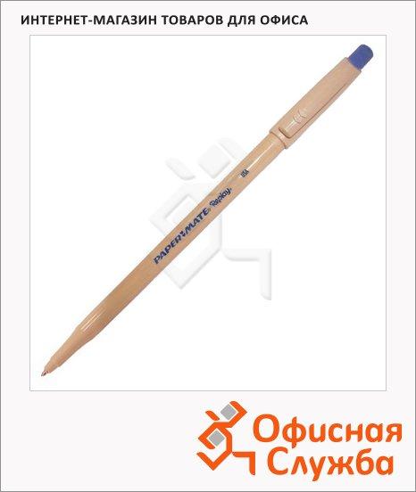 фото: Ручка шариковая стираемая Paper Mate Replay синяя 1мм, с ластиком, бежевый корпус, 0.8мм, с ластиком, S0190823