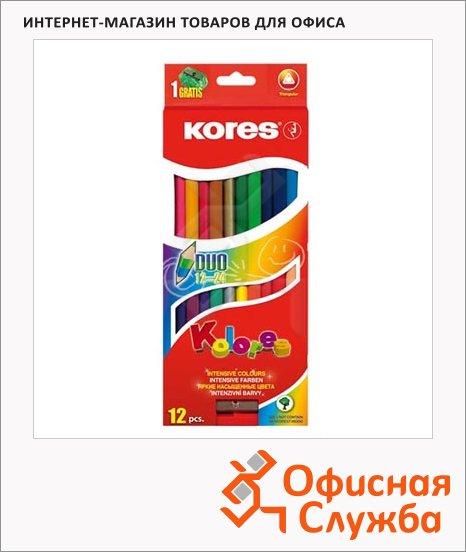 Набор цветных карандашей Kores 24 цвета, двухцветные, с точилкой, трехгранные, 93212
