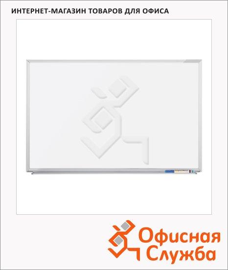 фото: Доска магнитная маркерная Magnetoplan 1240488 100х200см белая, лаковая, алюминиевая рама, полочка
