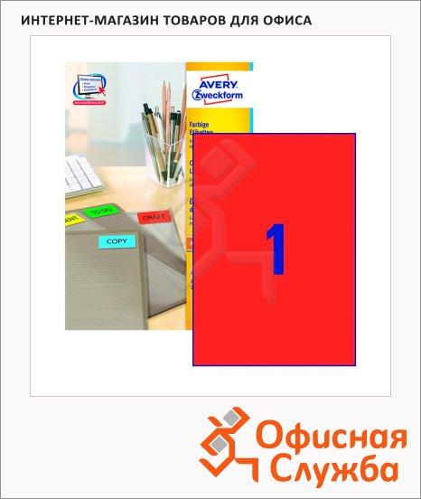 Этикетки самоклеящиеся Avery Zweckform 3470, 1шт на листе А4, 100 листов, для всех видов печати, красные, 210x297мм, 100шт