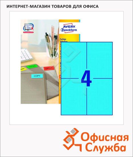 Этикетки самоклеящиеся Avery Zweckform 3457, 4шт на листе А4, 100 листов, 400шт, для всех видов печати, синие