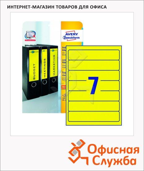 Этикетки для папок Avery Zweckform L4765-20, 7шт на листе А4, желтые, 38х192мм, 20 листов, 140шт, для струйной/ цветной лазерной печати