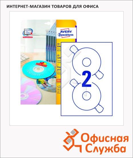 Этикетки для CD/DVD Avery Zweckform L6043-25, белые матовые, d=117мм, 2шт на листе А4, для всех видов печати, 25 листов, 50шт