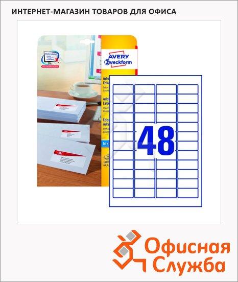 Этикетки адресные Avery Zweckform J4791-25, белые, 45.7х21.2мм, 48шт на листе А4, 25 листов, 1200шт, для струйной печати