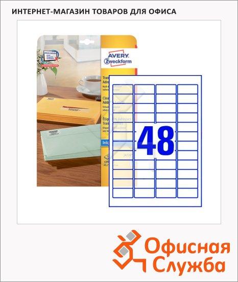 Этикетки адресные Avery Zweckform J4720-25, 48шт на листе А4, 25 листов, 1200шт, прозрачные, 45.7х21.2мм, для струйной печати