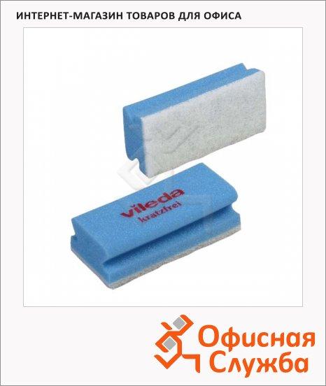 фото: Губка Vileda Pro Виледа 7х15см мягкая, белый абразив, голубая, 102562