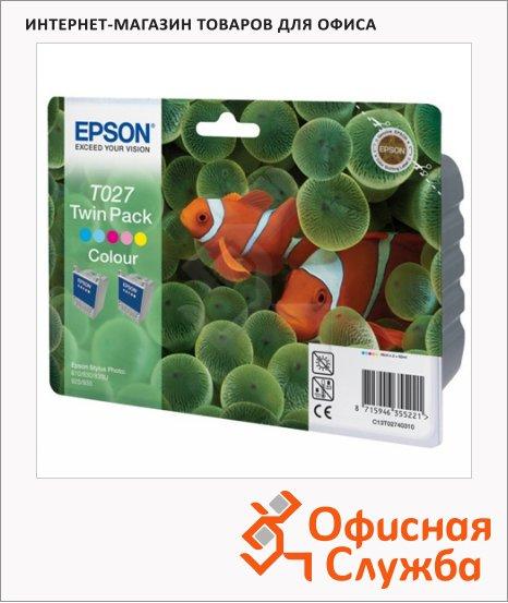 Картридж струйный Epson C13 T027403, 5 цветов, 2шт/уп