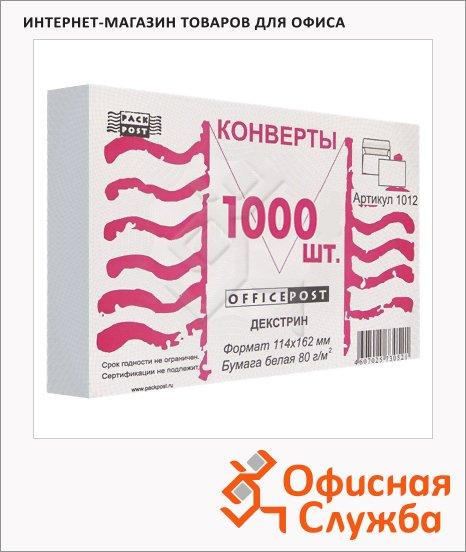 Конверт почтовый Ряжск С6 белый, 114х162мм, 80г/м2, декстрин, 1000шт