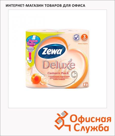 Туалетная бумага Zewa Deluxe персик, 3 слоя, 4 рулона, 150 листов, 21м, оранжевая
