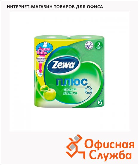 фото: Туалетная бумага Zewa Плюс зеленое яблоко 2 слоя, 4 рулона, 184 листа, зеленая, 23м