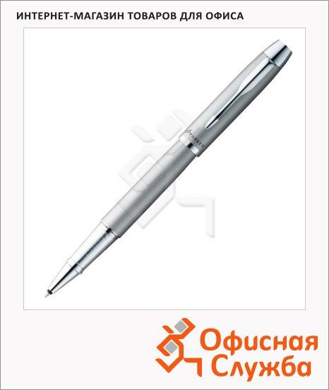 Ручка-роллер Parker IM Metal T221 F, черная, серебристый корпус