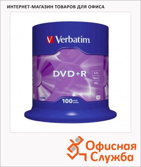 Диск DVD+R Verbatim 4.7Gb, 16x, Cake Box, 100шт/уп