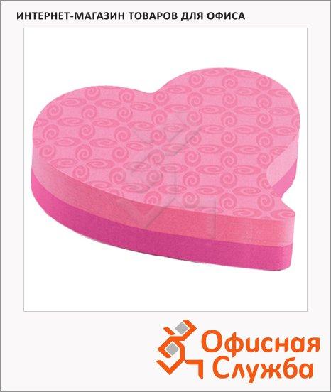 Блок для записей с клейким краем Post-It Super Sticky Сердце, 2 цвета неон, 80х80мм, 150 листов, фигурный, 7350-T-HRT