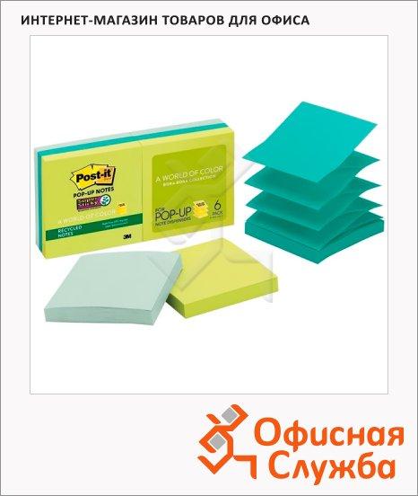 Блок для записей с клейким краем Post-It Super Sticky 3 цвета, неон, 76х76мм, 6х90 листов, Z-блок, R330-6SST