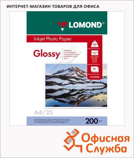 Фотобумага для струйных принтеров Lomond А4, 200г/м2, глянцевая, 25 листов, 102046