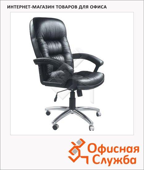 Кресло руководителя Бюрократ T-9908AXSN-AB нат. кожа, черная, крестовина хром
