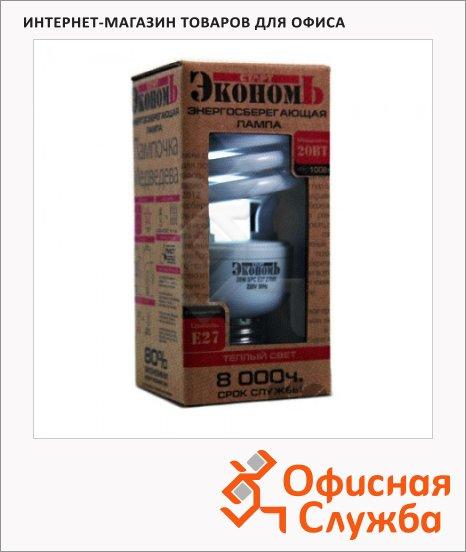 Лампа энергосберегающая Старт Экономь 20(100)Вт, E27, теплый белый