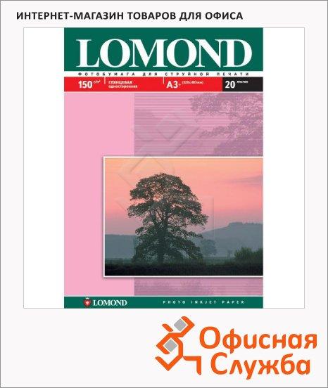 Фотобумага для струйных принтеров Lomond А3+, 20 листов, глянцевая, 150 г/м2
