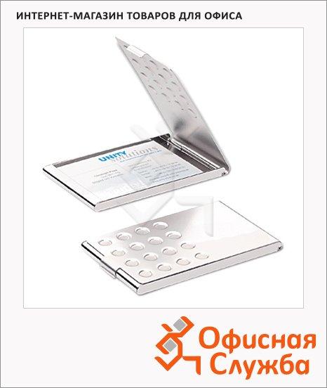 Визитница Durable Business Card Box на 20 визиток, серебристая, 95х58мм, сталь хромированная, 2440-23